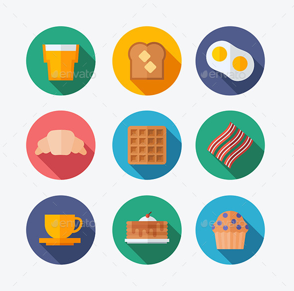 Breakfast Flat Icons - Food Objects
