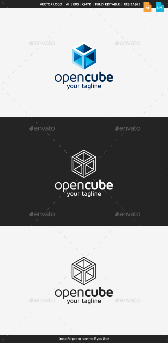 Open Cube Logo - Abstract Logo Templates