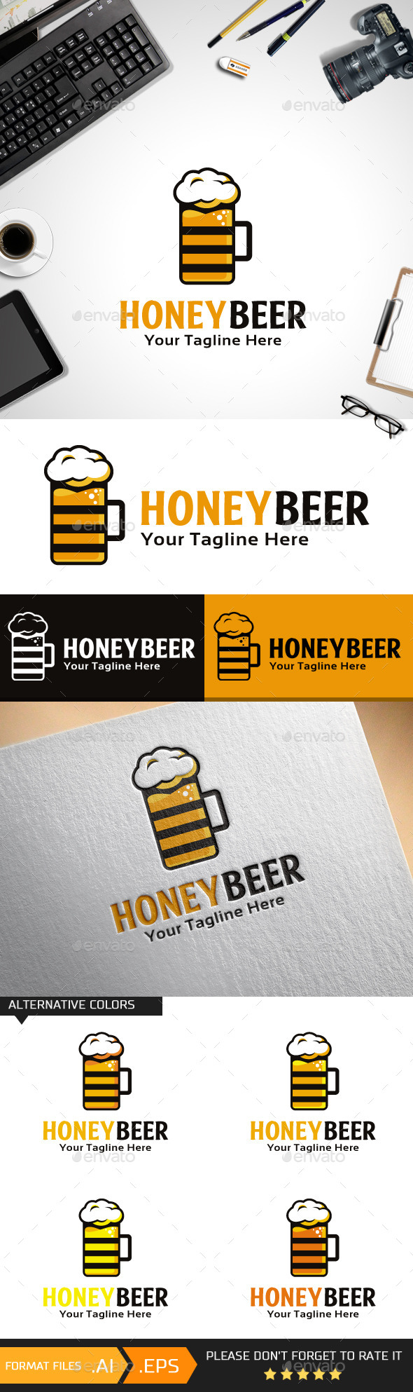 Honey Beer Logo Template - Food Logo Templates