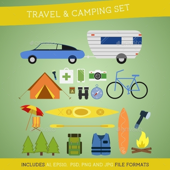 Set of Camping and Travel Elements - Travel Conceptual