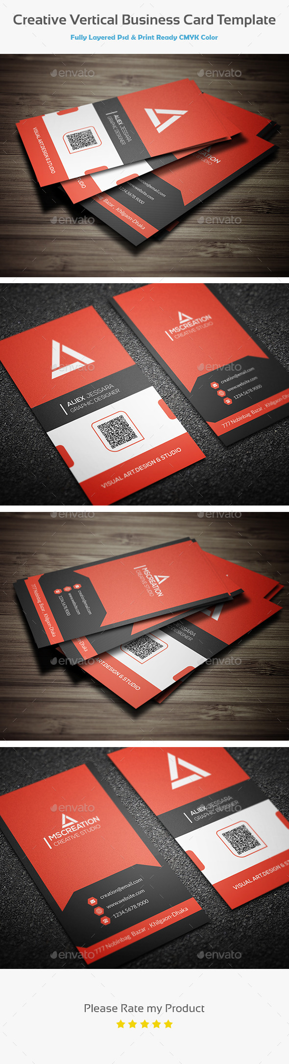 Creative Vertical Business Card Template - Creative Business Cards