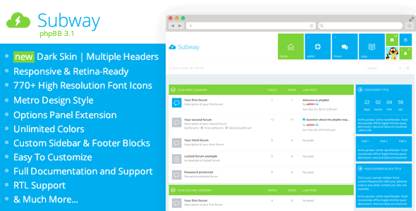Download Subway - Flat Metro phpBB 3.1 & 3.2 Theme nulled version