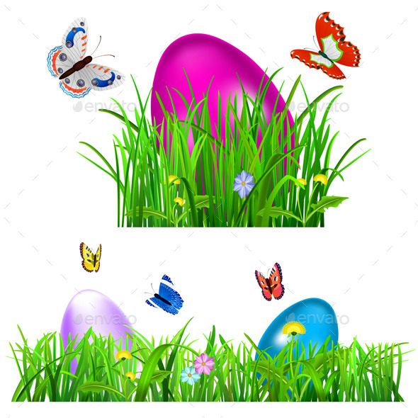 Green Grass with Easter Eggs - Miscellaneous Seasons/Holidays