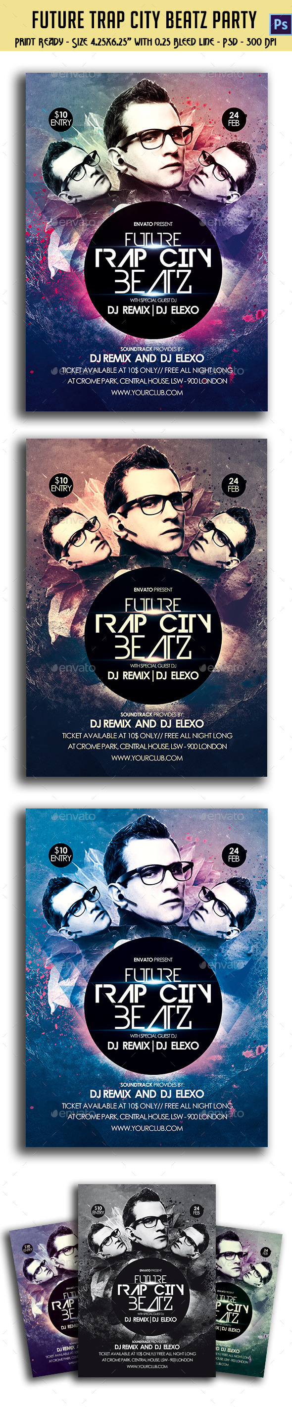 Future Trap City Beatz Party Flyer - Clubs & Parties Events