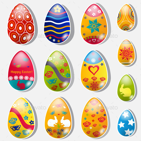 Set Of Paper Easter Eggs - Miscellaneous Seasons/Holidays