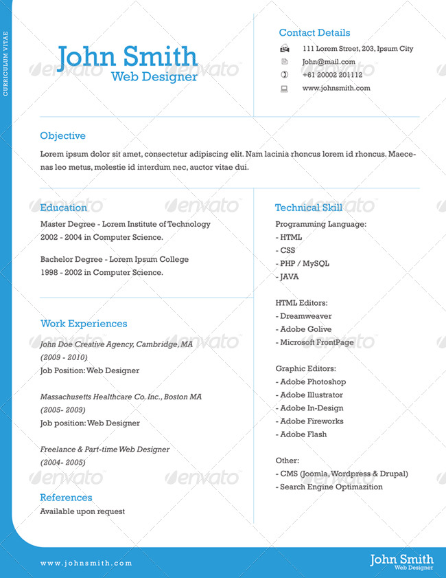 Professional One-Page Resume By Kinzi21 | Graphicriver