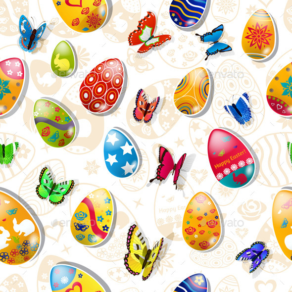 Seamless Pattern of Easter Eggs - Miscellaneous Seasons/Holidays