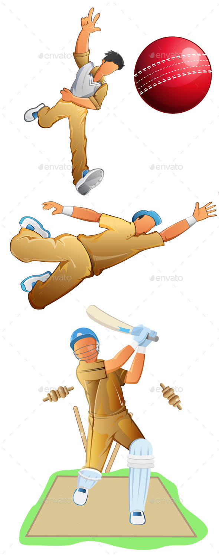 Cricket Player Set - Sports/Activity Conceptual