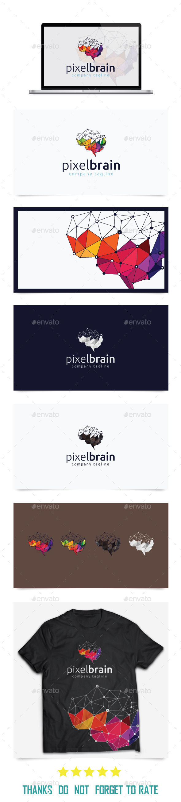 Pixel Brain Logo Templates - Abstract Logo Templates