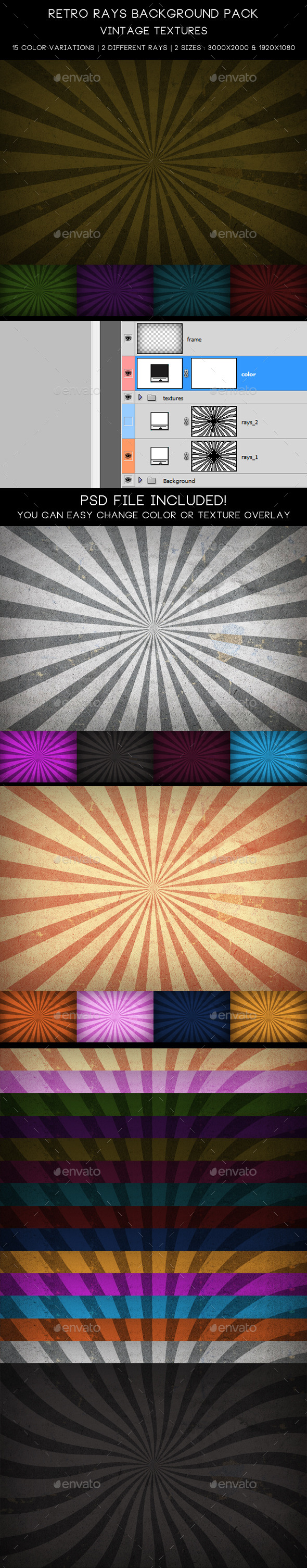 Retro Rays Background Pack / Vintage Textures