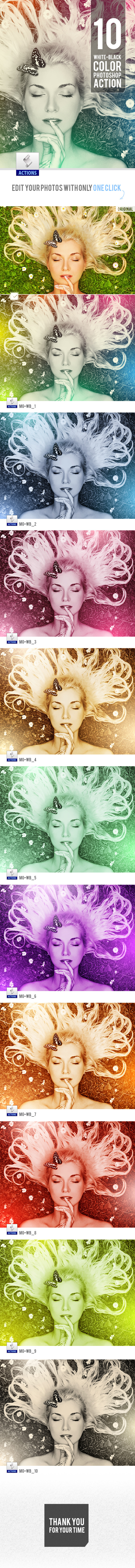10 White-Black Color Photoshop Actions - Actions Photoshop