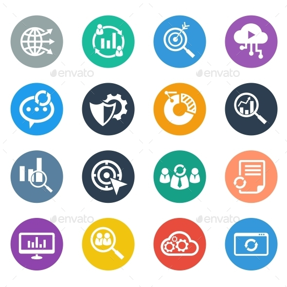 SEO Icons Circle  - Business Icons