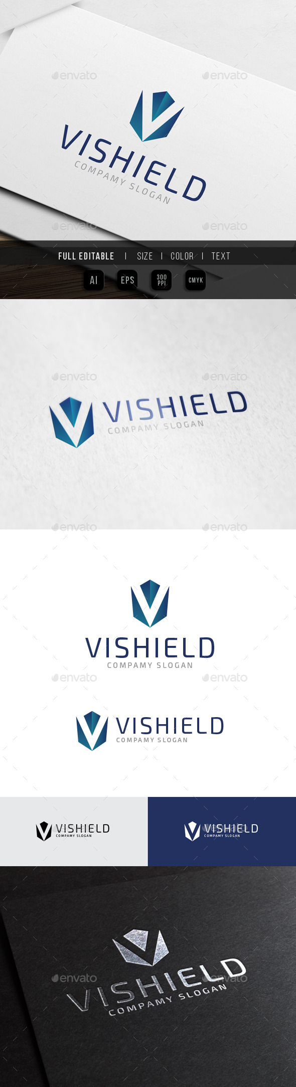 V Shield Studio- Vision Security System - Letters Logo Templates