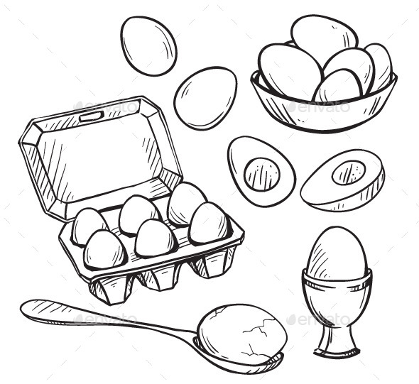 Set of Eggs Drawings - Food Objects