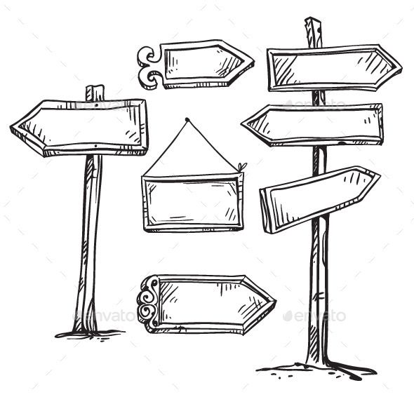Set of Signboards. Hand Drawn. - Objects Vectors
