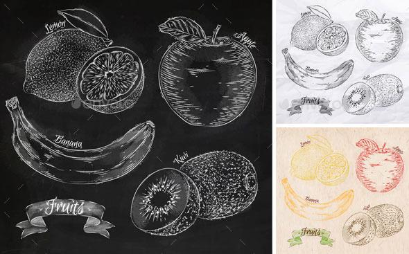 Fruits lemon, apple, banana, kiwi graphics. - Food Objects