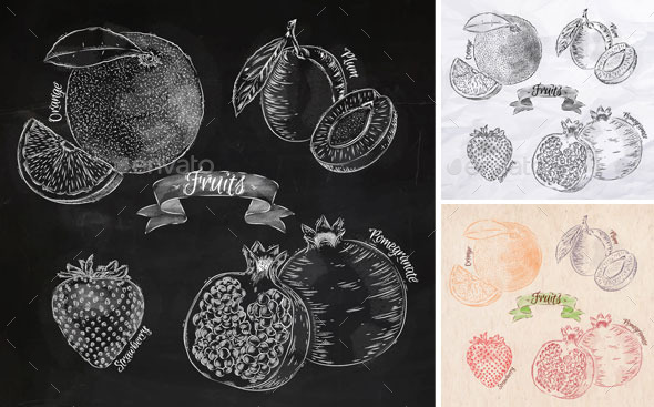 Fruits orange, pomegranate, strawberry graphics. - Food Objects