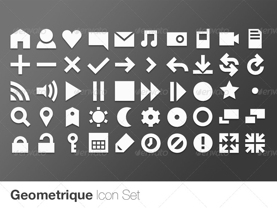Geometrique icon set 50 vector icons by edboaden graphicriver preview set01 geometrique white greyg reheart Gallery