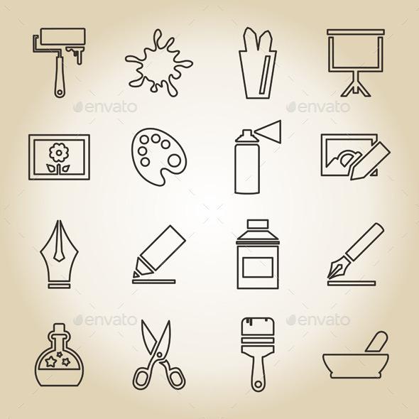 Art Outline Icon - Miscellaneous Vectors