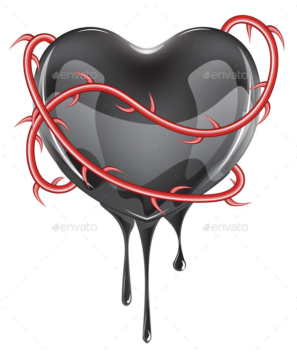 Bleeding Black Heart  - Valentines Seasons/Holidays