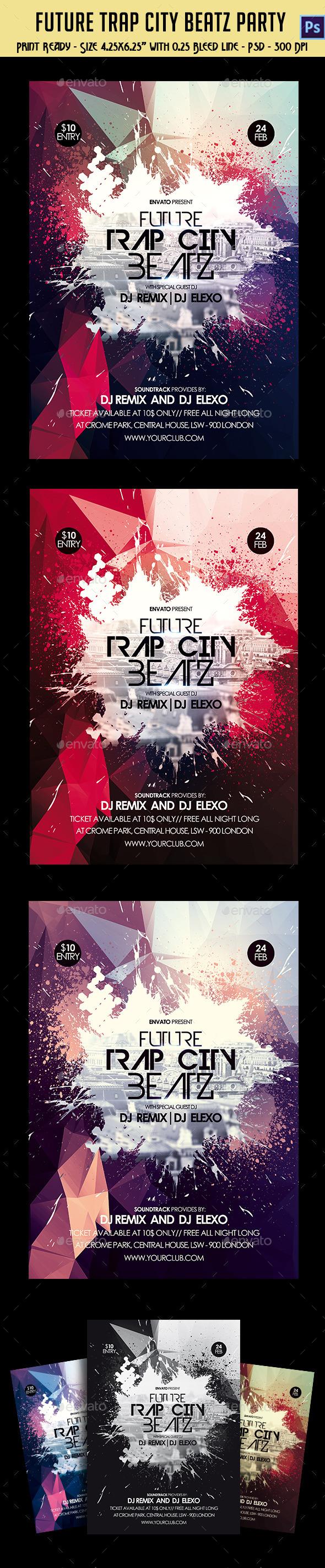 Future Trap City Beatz Party Flyer - Clubs & Parties Events