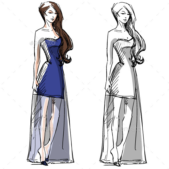 Fashion Hand Drawn Illustration - People Characters