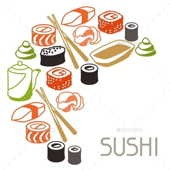 Background with Sushi - Food Objects