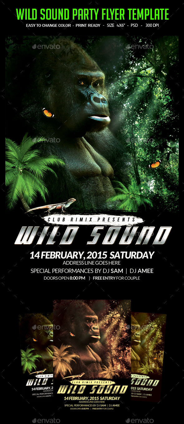 Wild Sound Party Flyer Template - Clubs & Parties Events