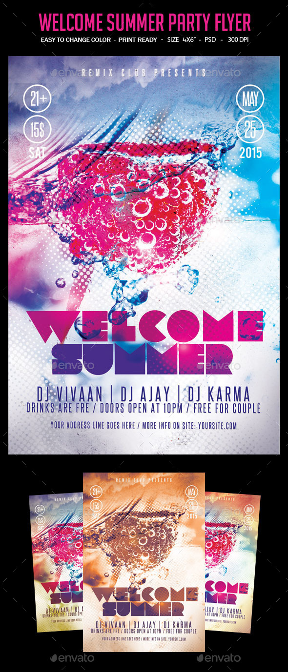Welcome Summer Party Flyer - Clubs & Parties Events