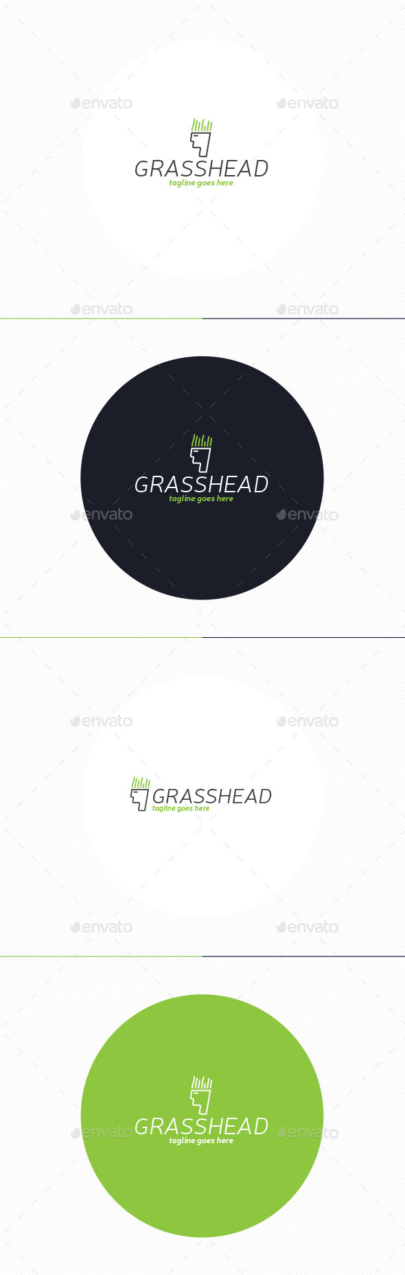 Grass Head Logo - Humans Logo Templates