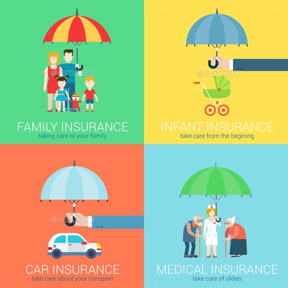 4-in-1 Insurance Concept Illustrations - Concepts Business
