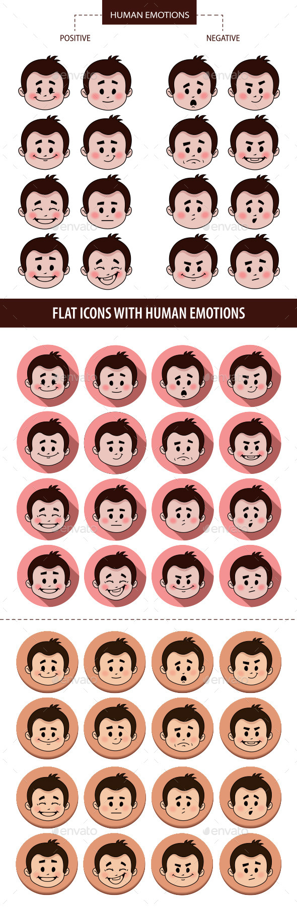 Set of People Facial Expressions - People Characters