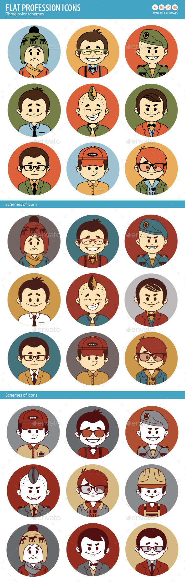 Set of Flat People Profession Icons - People Characters