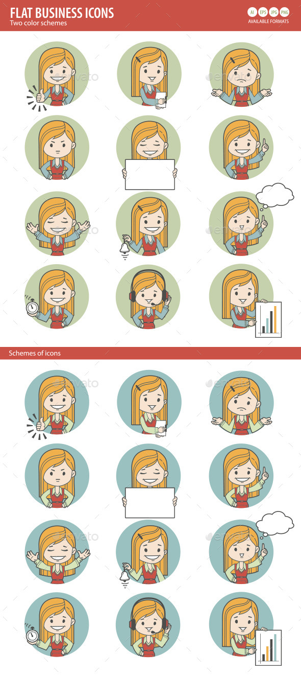 Two Sets of Flat People Icons - People Characters