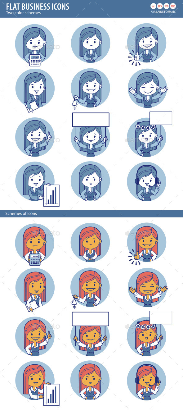 Two Sets of Flat People Icons with Businesswomen - People Characters