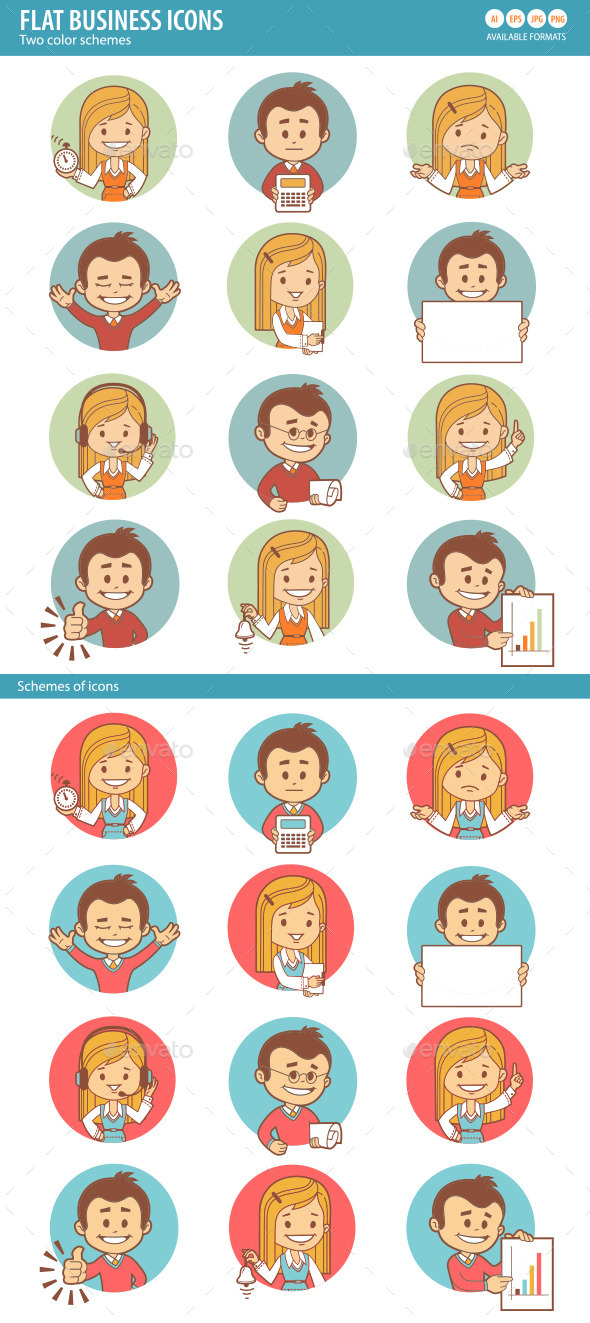 Flat Icons with Businessman and Businesswoman - People Characters