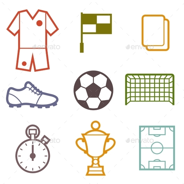 Set of Sports Soccer Symbols - Sports/Activity Conceptual