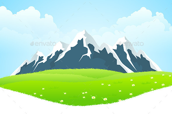 Green Landscape with Mountains - Landscapes Nature