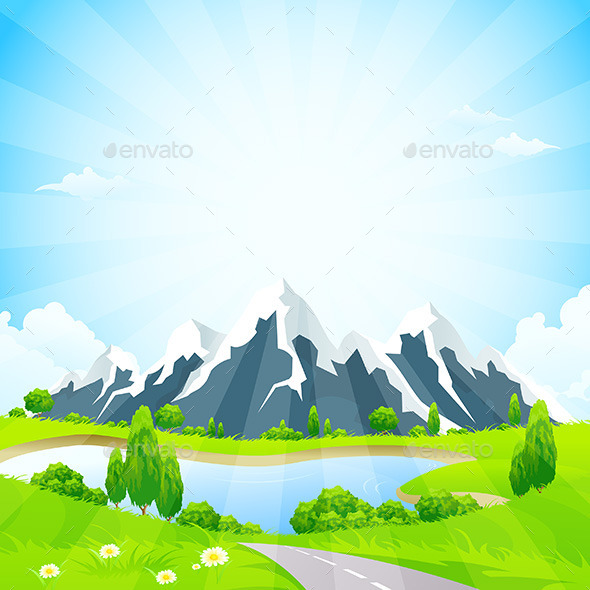 Green Landscape with Road and Mountains - Landscapes Nature