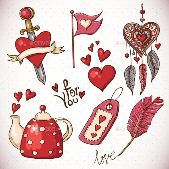 Valentines Day Doodle Set - Patterns Decorative