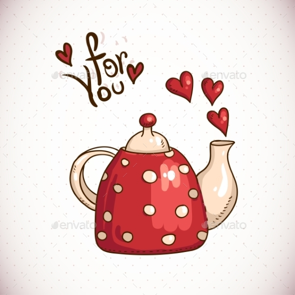 Teapot and Hearts - Patterns Decorative