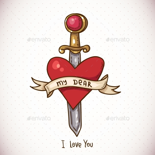 Sword, Ribbon and Heart - Patterns Decorative