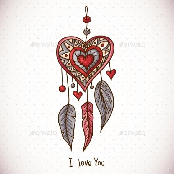 Dream Catcher and Heart - Patterns Decorative