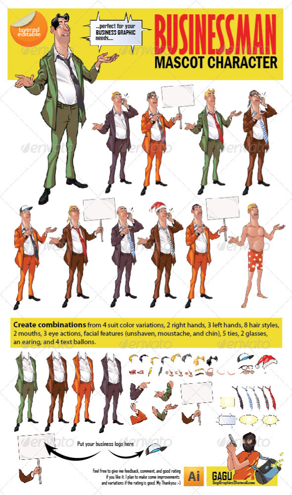 Businessman Mascot Character - People Characters