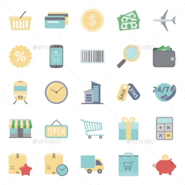 Sales and Shopping Flat Icons Set - Retail Commercial / Shopping