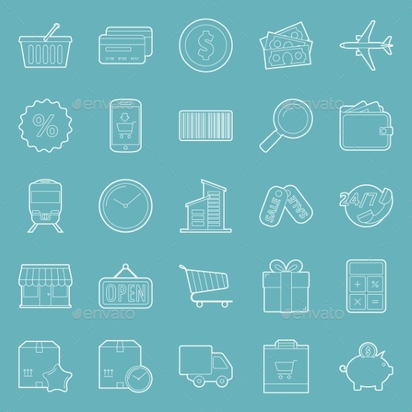 Sales and Shopping Thin Lines Icons Set - Retail Commercial / Shopping
