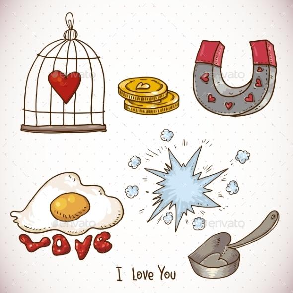 Valentines Day Doodle Set - Patterns Decorative