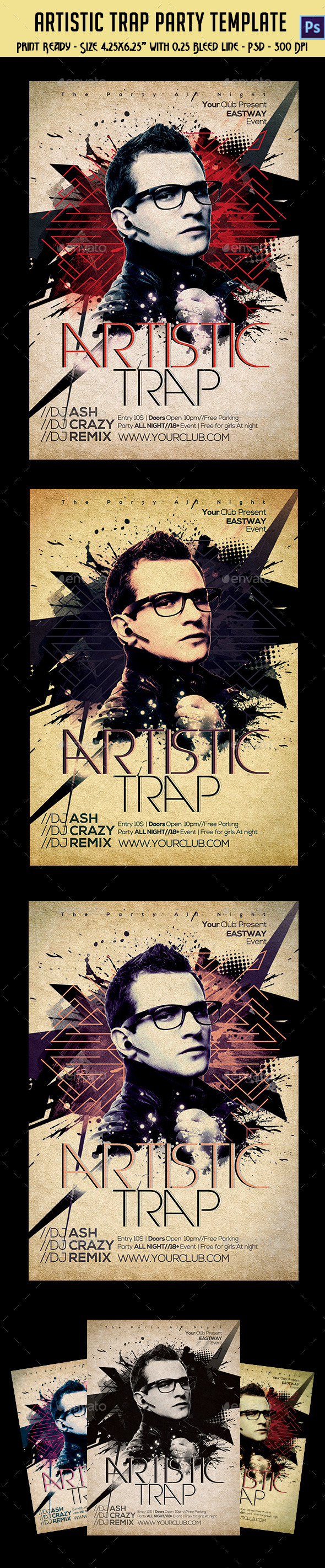 Artistic Trap Party Flyer - Clubs & Parties Events