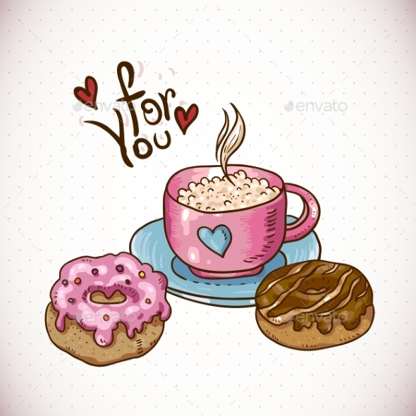 Greeting Card with a Cup of Coffee and Donuts - Patterns Decorative