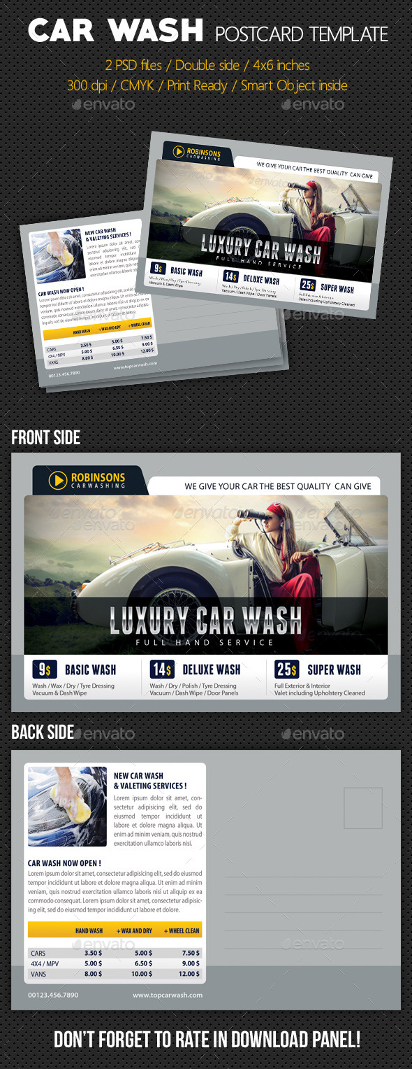 Car Wash Postcard Template V03 - Cards & Invites Print Templates